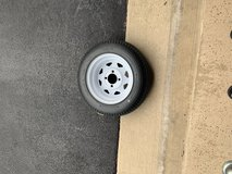 480-12 trailer tire with rim like new. Fits4x8 folding utility trailers in Joliet, Illinois