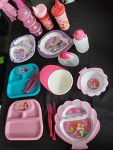 Baby Toddler Girls Sippy Cups Bows Plates Lot in Clarksville, Tennessee