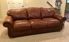 Flexsteel Leather Couch with Nailhead Trim in Joliet, Illinois
