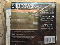 """sofa or loveseat slipcover, brand new, sage green color, """"suede"""" polyester fabric in 29 Palms, California"""