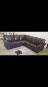 Leather sectional sofa-Chocolate Brown in Westmont, Illinois