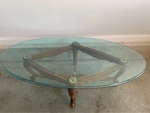 Antique, wood four feet base,50 plus pounds glass top in Fort Knox, Kentucky