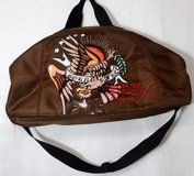 Don Ed Hardy Duffle Gym Death Glory Born Free Bag Duffle Gym Brown in Yorkville, Illinois
