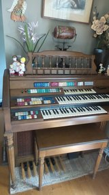Wurlitzer Total Tone Deluxe Organ ORBIT Synthesizer and Wood Bench with storage in Chicago, Illinois