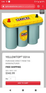 optima yellow top deep cycle battery in Edwards AFB, California