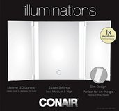 New! Conair Trifold 1X LED Lighted Vanity Mirror ~ White in Bolingbrook, Illinois