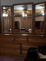 Moving Sale: Wood Dresser with Dual Hutch Mirrors in Chicago, Illinois