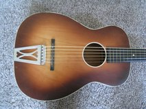 Vintage Sears Silvertone 605 Parlor Guitar with Nick Manoloff Metal Slide Nut. in Naperville, Illinois
