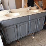 """60""""Gray Vanity, Top, Faucets and Mirror in Westmont, Illinois"""