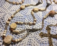 Lasso Wedding Rosary Wood Beads Natural Color Vintage Beads Czech Crystal Accents Bronze Medal S... in Kingwood, Texas