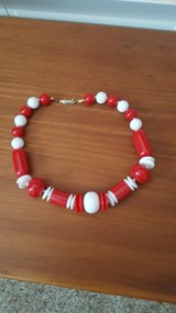 Red and White Beaded Necklace in Naperville, Illinois