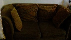 Brown Cloth CouchWith wood trim in Fort Lewis, Washington