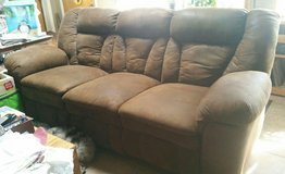 Beautiful Brown Suede Couch-Has Recliners in Yucca Valley, California
