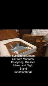 Full Size Bedroom Set; Includes Mattress, Boxspring, Dresser, Mirror and. Night Stand in Fort Leonard Wood, Missouri
