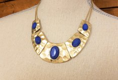 """Silver Tone Choker 18"""" Blue Hammered Statement Chain Pendant Necklace Strand in Houston, Texas"""