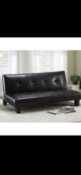 black leather sofa bed sleeper futon  :) in Camp Pendleton, California