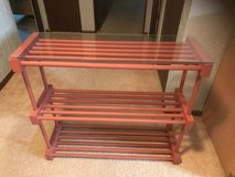 Glass top Wooden shelving unit in Plainfield, Illinois