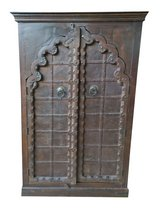 Antique Indian Armoire Arch Door Hand Carved Wooden Cabinet in Fort Drum, New York