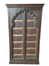 Antique Armoire Arch Door Hand Carved Solid Wood Cabinet Storage Bohemian Luxury Decor in Fort Drum, New York