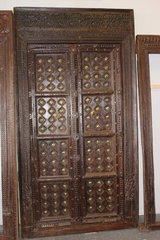 Antique Indian Brass Medallion Carved Teak Haveli Double Doors in Fort Drum, New York