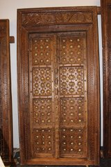 Antique Indian Hand Carved Wooden Door and Frame in Fort Drum, New York