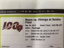 Parking pass for Bears vs Vikings game on Sept 29 at Soldier Field in Chicago, Illinois