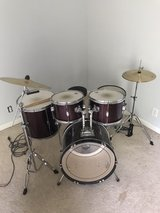 red drum set in Fort Campbell, Kentucky