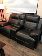 Leather love seat with storage  (reclining) in Fort Lewis, Washington