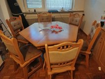 German solid wood dining table and 6 chairs in Ramstein, Germany