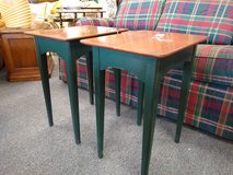 2 Wood End Tables with Green Legs in Bartlett, Illinois