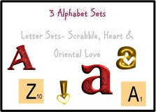 3 Alphabet Sets Includes: Heart, Scrabble & Oriental Love Designs. (108 designs included) in Fort Lewis, Washington