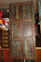 1920s Antique Hand Carved Teal Blue Design Barn Door in Fort Drum, New York