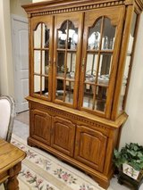 Solid Oak China Cabinet in Conroe, Texas