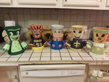 hand painted clay pot characters in Fort Polk, Louisiana