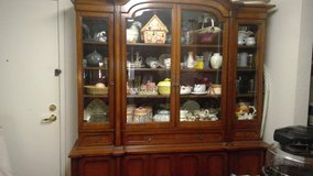 2-Piece Large China Hutch with Beveled Glass Doors on Top in Conroe, Texas