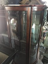 small Curio Cabinet needs to be reclaimed  Glass is good no shelves in 29 Palms, California