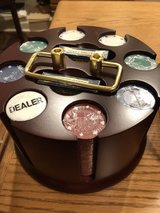 New - Deluxe Revolving Poker Rack with 200 Poker Chips, 2 Decks Cards and Dealer Button in Naperville, Illinois