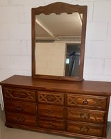 Solid wood dresser and matching mirror in Wiesbaden, GE