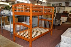 Used Wood Twin Twin Bunkbed Frame with ladder in Fort Lewis, Washington