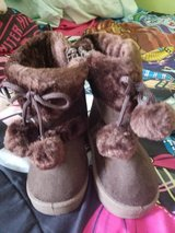 Dark Coffee pom pom boots new in Naperville, Illinois