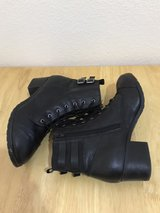 Black block-heeled boots in The Woodlands, Texas