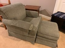 Sage green textured arm chair with ottoman in Naperville, Illinois