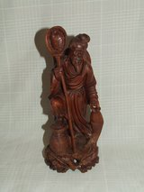 Asian Old Man Fisherman Carved Wooden Statue in Naperville, Illinois