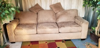 beige micro suede full size sleeper sofa couch in Fort Campbell, Kentucky