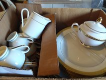 Gold leaf rimmed China Dishes in Cherry Point, North Carolina