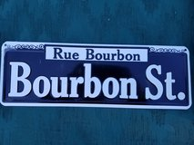 Rue Bourbon St. Sign in Yucca Valley, California