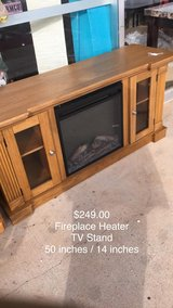Fireplace Heater (Electric) TV Stand 50x14 (New) in Fort Leonard Wood, Missouri