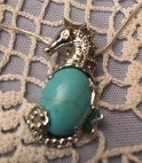 Seahorse with Turquoise Stone Large Silver on Stainless Steel Chain in Houston, Texas