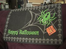 Happy Halloween ; Skull Border ; Green Spider and Grey Web Door Mat in Fort Lewis, Washington