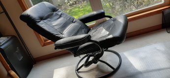 Leather Chrome Reclining Chair in Joliet, Illinois
